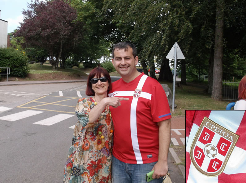 One supporter wore a Serbia football shirt!